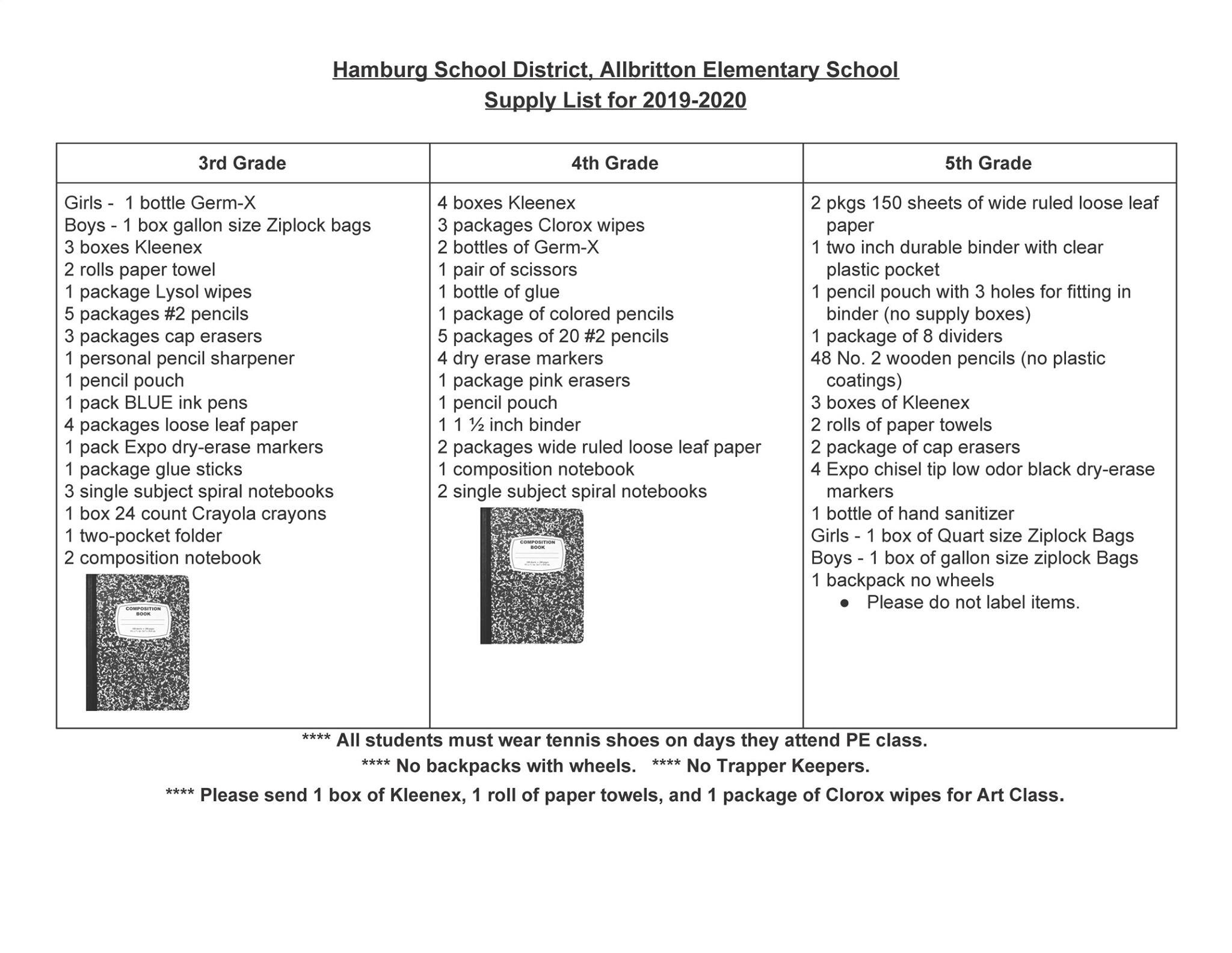 2019 – 2020 Allibritton Elementary School Supply List – Print & Share